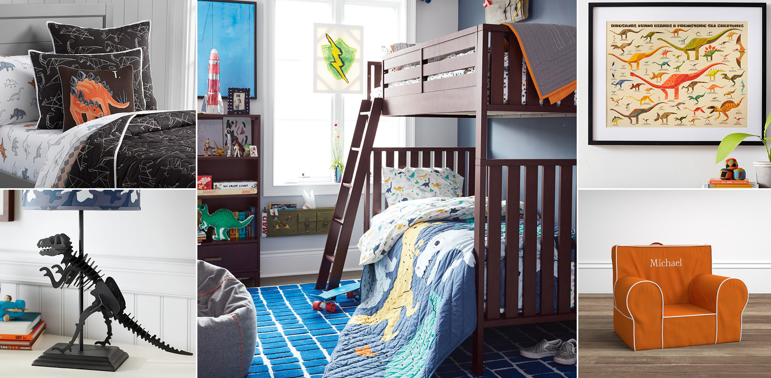Kids dinosaur bedroom dinosaur bedding room decor for Dinosaur themed kids room
